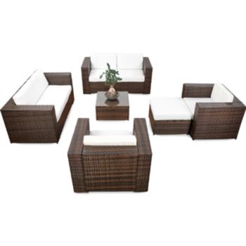 18tlg Polyrattan Gartenmöbel XXL ECK Lounge Möbel Set ...