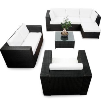 18tlg polyrattan gartenm bel xxl eck lounge m bel set. Black Bedroom Furniture Sets. Home Design Ideas