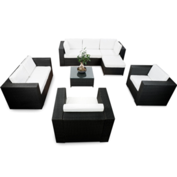 details about 18tlg polyrattan gartenm bel xxl eck lounge m bel set. Black Bedroom Furniture Sets. Home Design Ideas